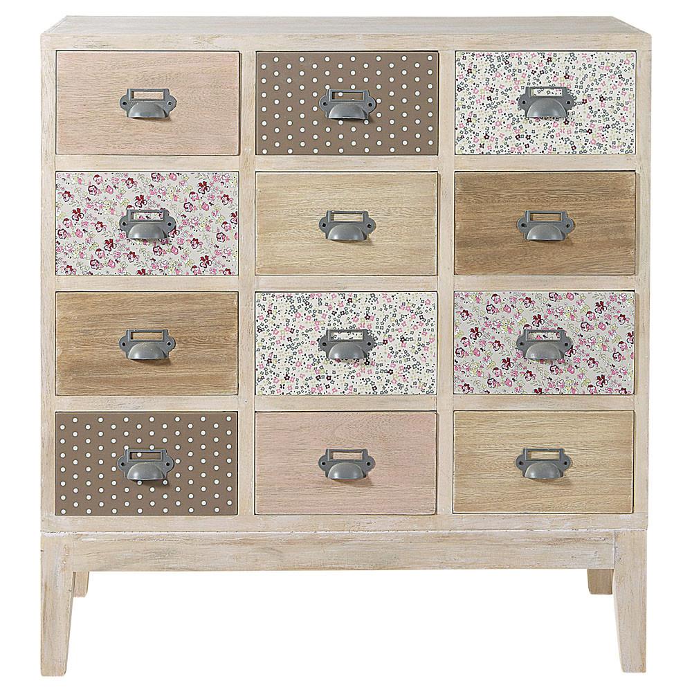 Cabinet commode 12 tiroirs en bois l 75 cm pimprenelle for Papel pintado para forrar muebles