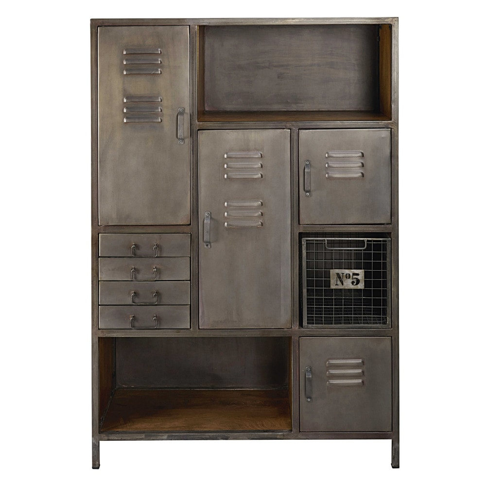 cabinet de rangement 4 portes 4 tiroirs en m tal et manguier lewis maisons du monde. Black Bedroom Furniture Sets. Home Design Ideas