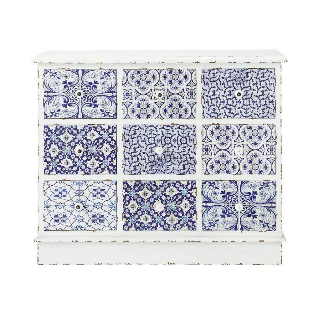 cabinet de rangement motifs en bois blanc et bleu l 100 cm majorelle maisons du monde. Black Bedroom Furniture Sets. Home Design Ideas