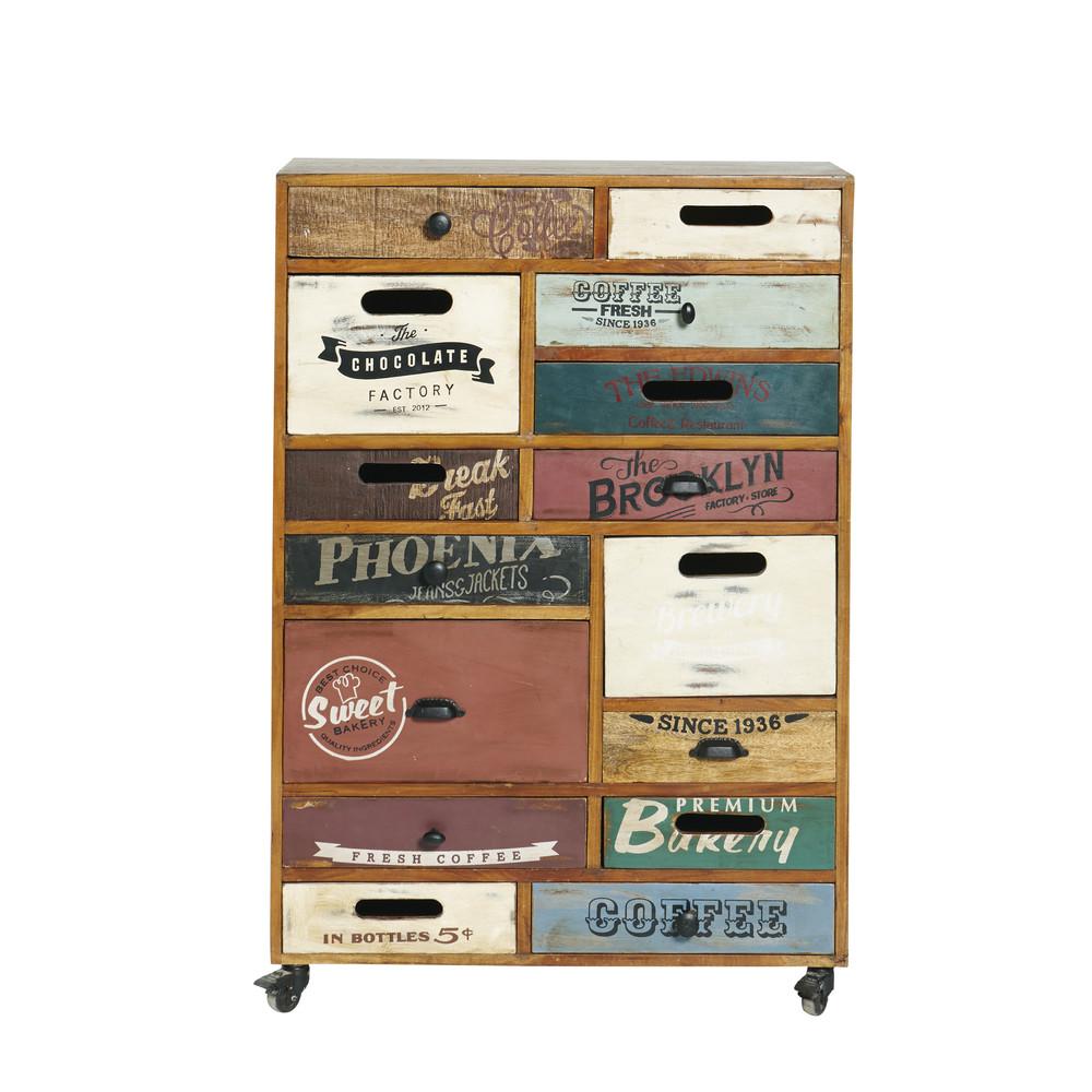 cabinet de rangement roulettes en bois recycl l 82 cm coffee maisons du monde. Black Bedroom Furniture Sets. Home Design Ideas