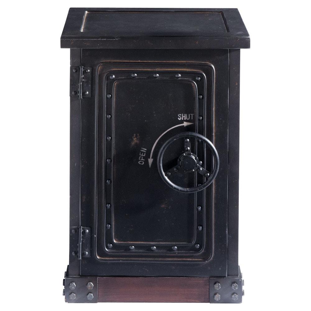 Cabinet de rangement coffre fort en bois noir effet vieilli l 53 cm bank ma - Coffre de rangement noir ...