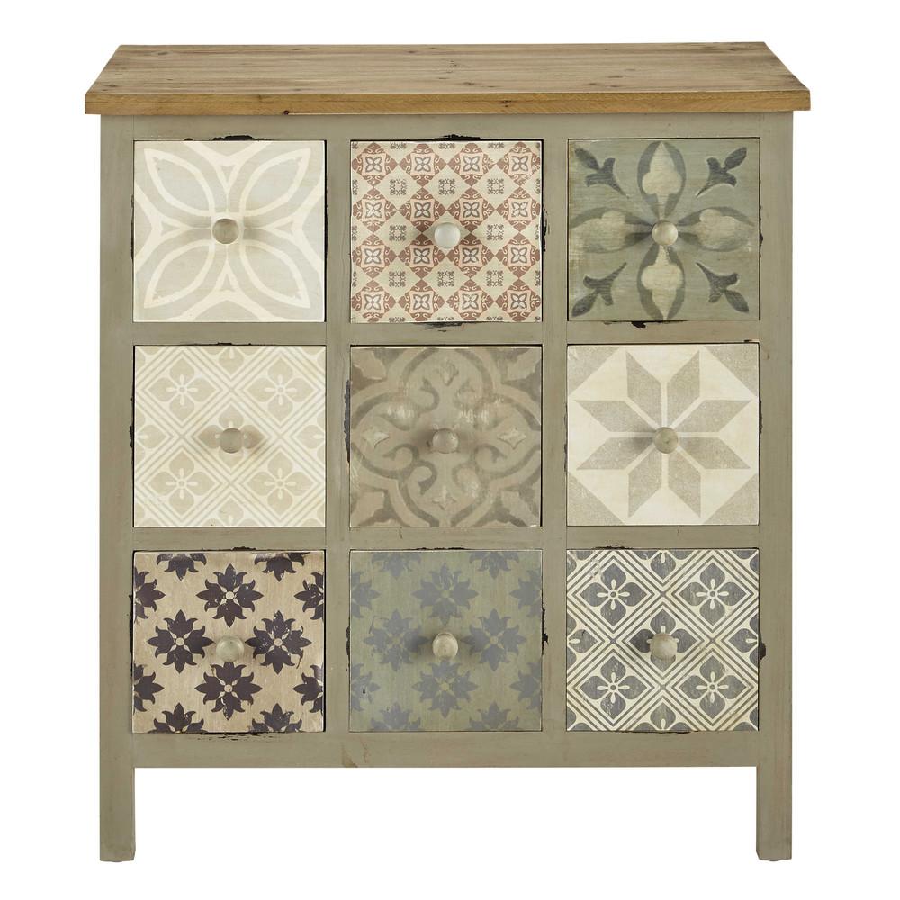 Cabinet de rangement en bois gris clair l 75 cm leopoldine maisons du monde - Maison du monde rangement ...
