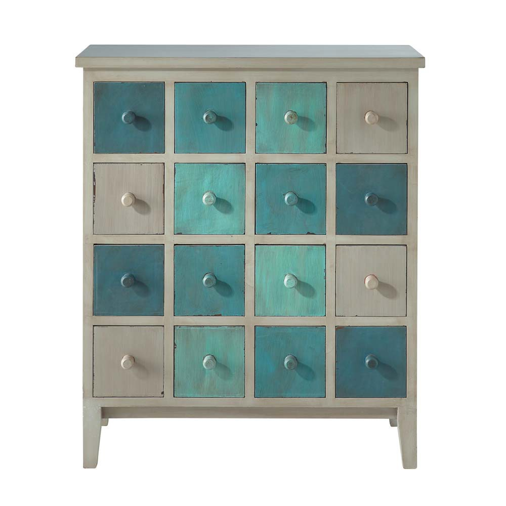 cabinet de rangement en bois gris et bleu l 73 cm solferino maisons du monde. Black Bedroom Furniture Sets. Home Design Ideas