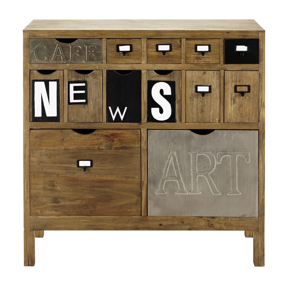 cabinet de rangement en bois l 91 cm news maisons du monde. Black Bedroom Furniture Sets. Home Design Ideas