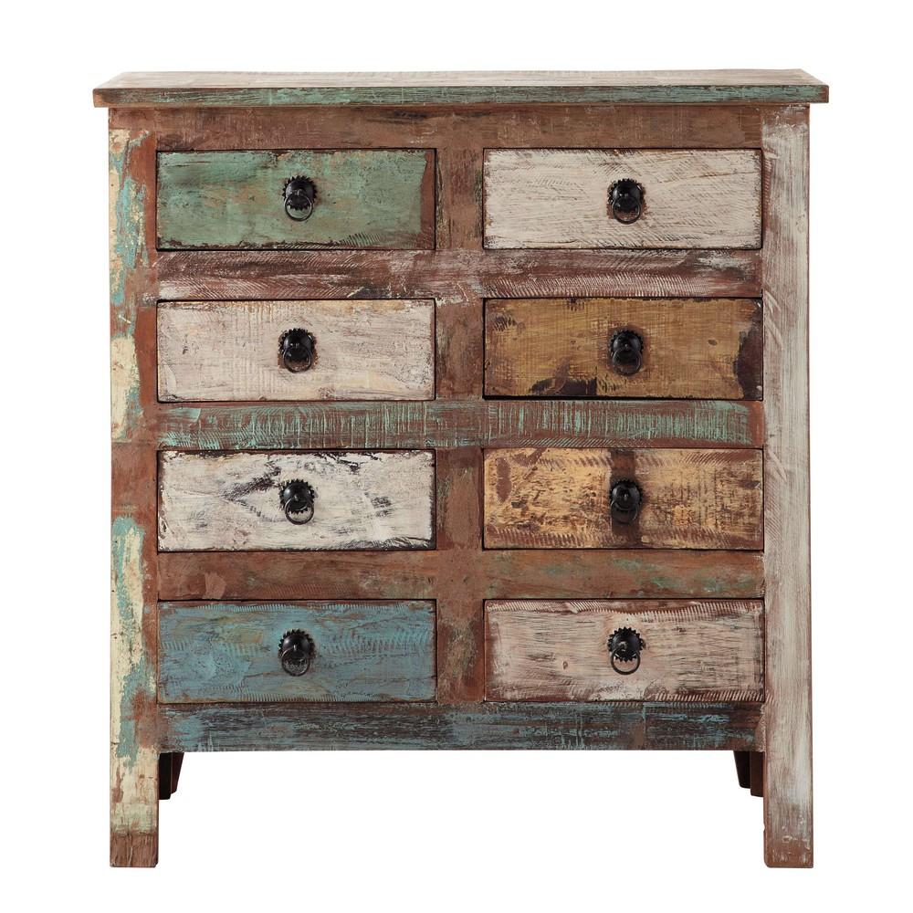 Cabinet de rangement en bois recycl l 80 cm calanque for Console meuble maison du monde