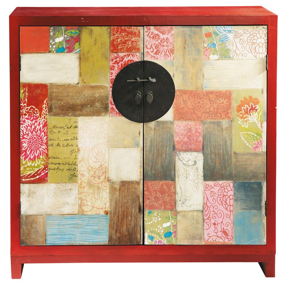 Cabinet de rangement en bois rouge l 110 cm kinzo for Accessori bagno maison du monde
