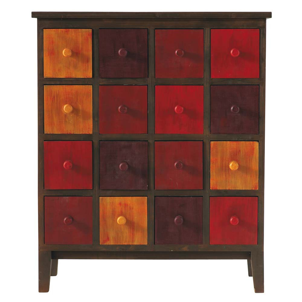 cabinet de rangement en bois rouge l 73 cm solferino maisons du monde. Black Bedroom Furniture Sets. Home Design Ideas