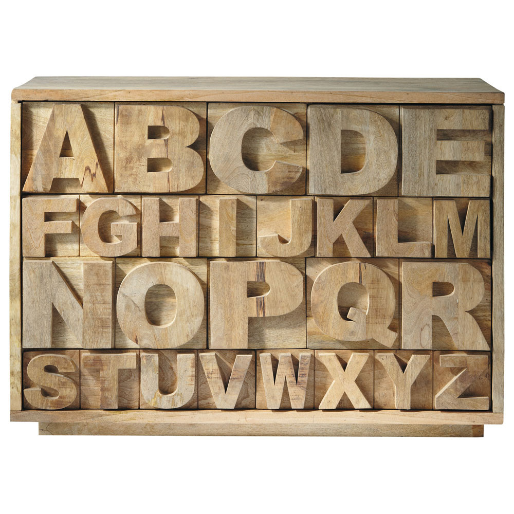 cabinet de rangement en manguier l 120 cm alphabet maisons du monde. Black Bedroom Furniture Sets. Home Design Ideas