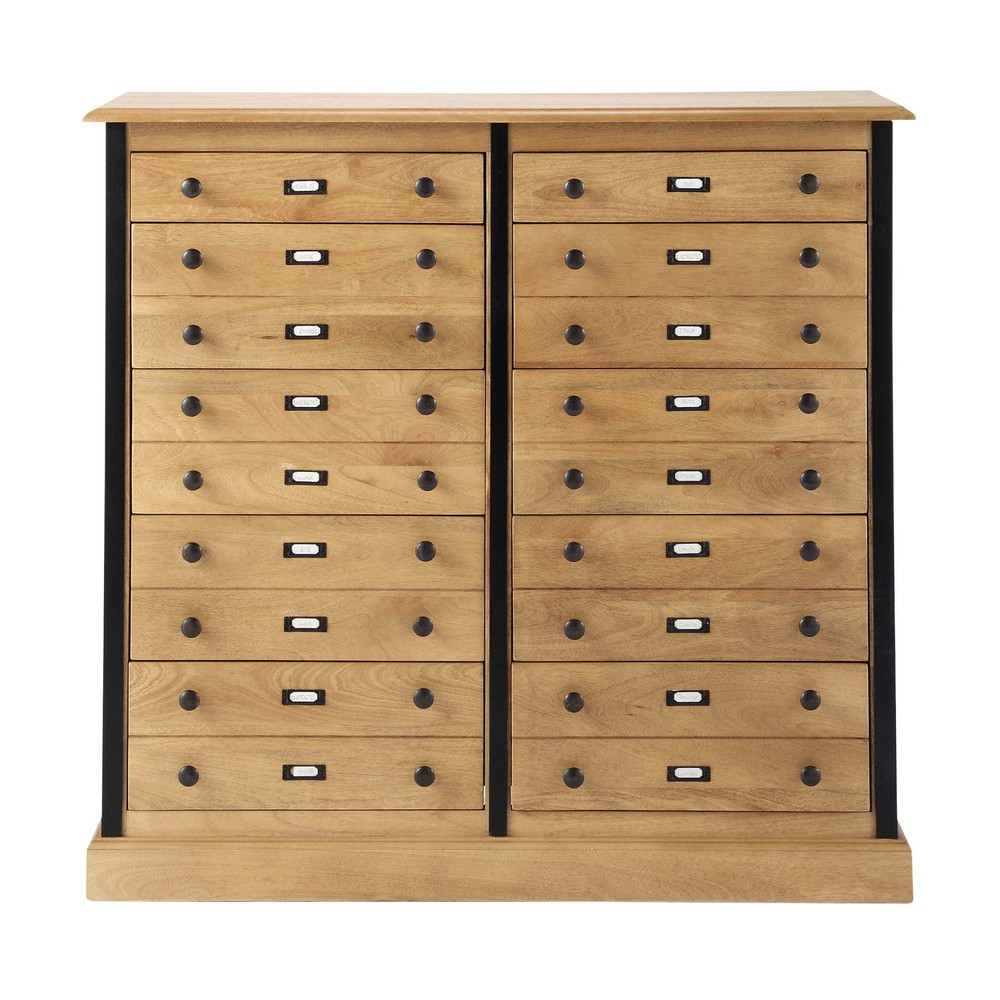 cabinet de rangement en manguier l 98 cm naturaliste maisons du monde. Black Bedroom Furniture Sets. Home Design Ideas