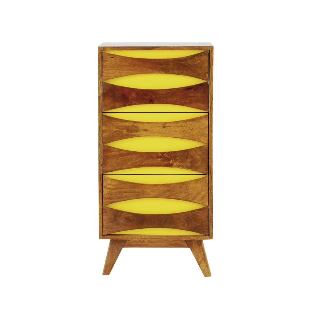 cabinet de rangement en manguier massif jaune l 45 cm moon maisons du monde. Black Bedroom Furniture Sets. Home Design Ideas