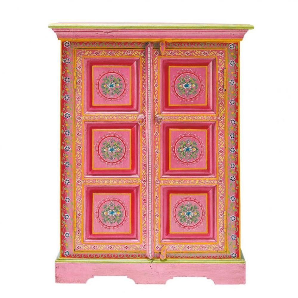 cabinet de rangement en manguier massif multicolore l 72 cm roulotte maisons du monde