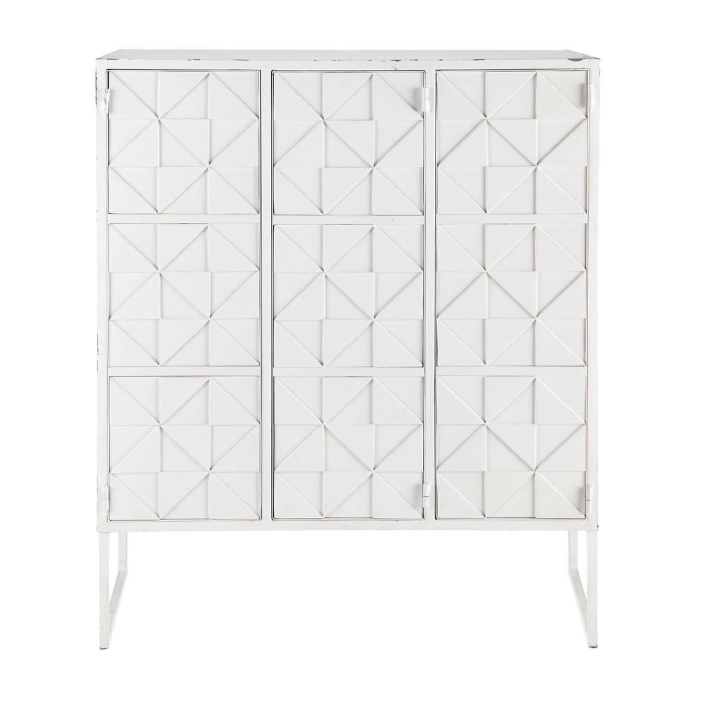 cabinet de rangement en m tal blanc l 102 cm iconik maisons du monde. Black Bedroom Furniture Sets. Home Design Ideas