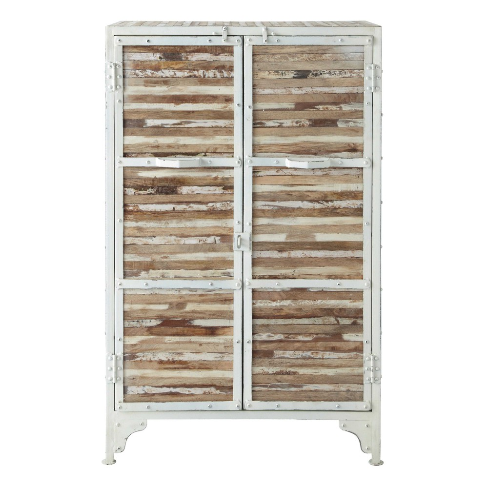 cabinet de rangement en m tal blanc l 75 cm mistral maisons du monde. Black Bedroom Furniture Sets. Home Design Ideas