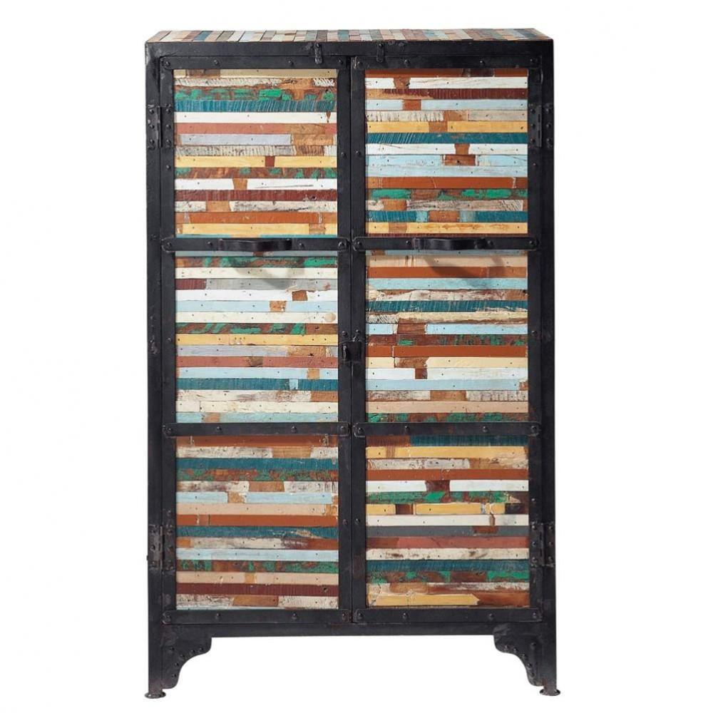 Cabinet de rangement en m tal noir l 75 cm bahia maisons for Meubles maison du monde occasion
