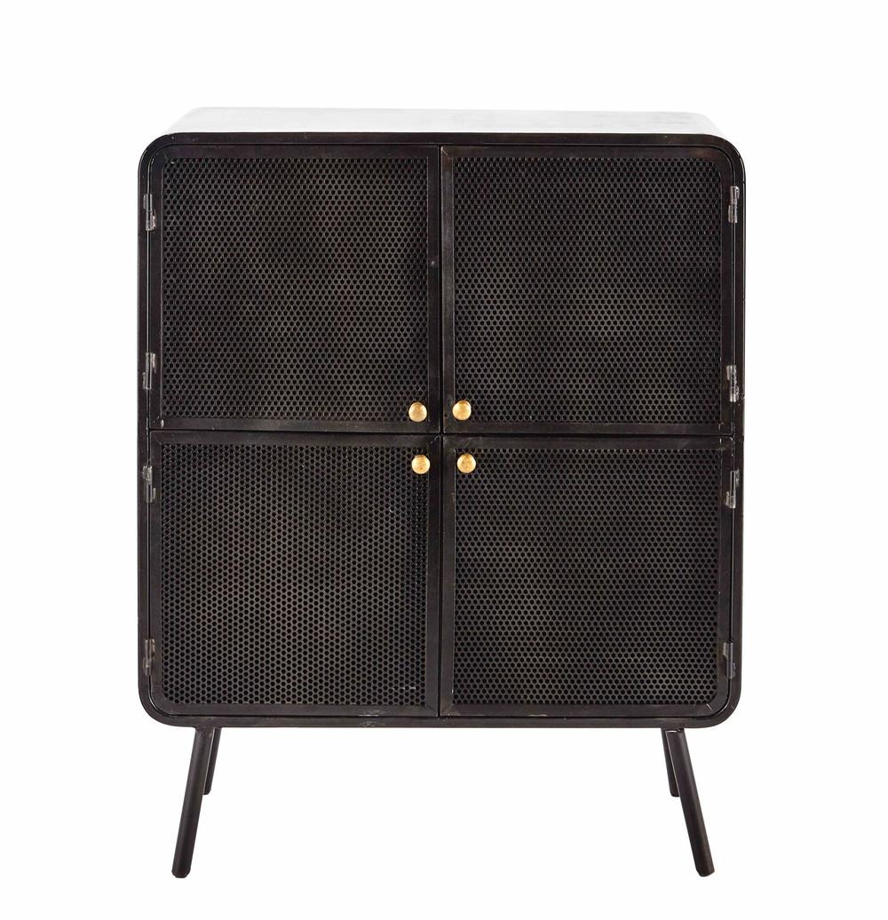 cabinet de rangement en m tal noir l 80 cm knokke maisons du monde. Black Bedroom Furniture Sets. Home Design Ideas