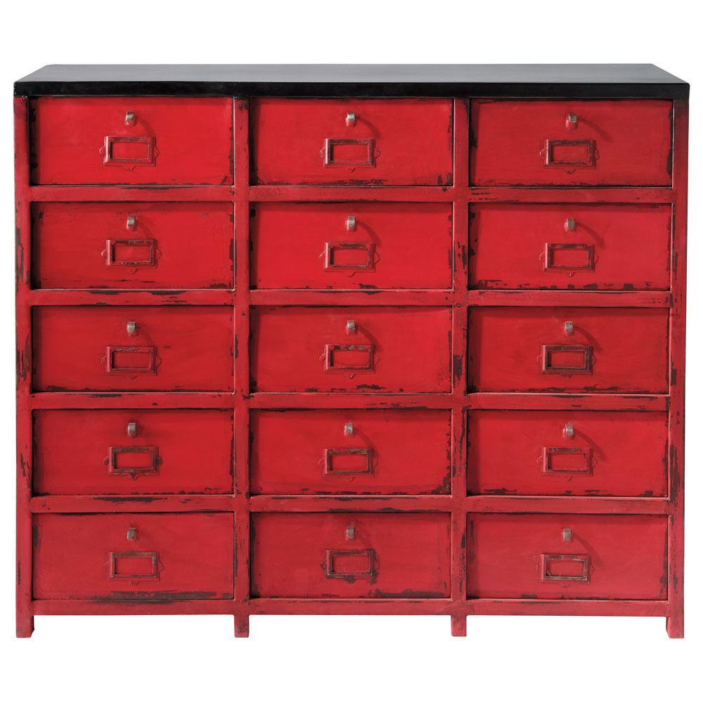cabinet de rangement en m tal rouge l 115 cm vermillon maisons du monde. Black Bedroom Furniture Sets. Home Design Ideas