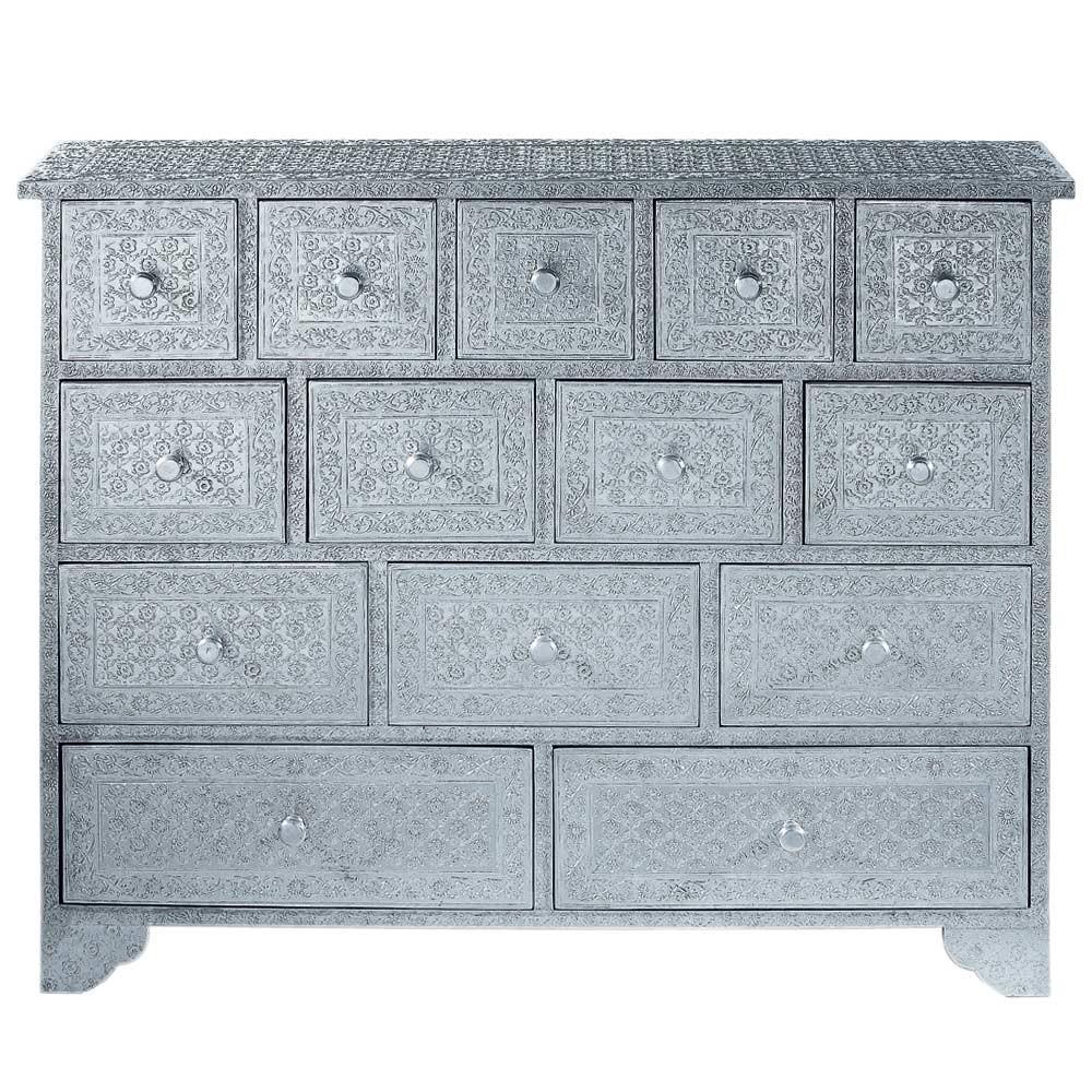 Cabinet de rangement indien en bois argent l 100 cm for Meuble mural 100 cm