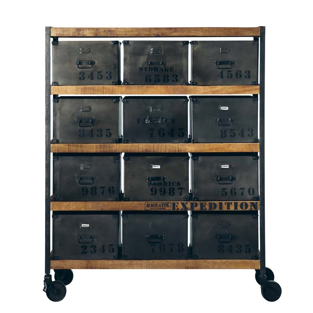 cabinet de rangement indus roulettes en m tal noir l 127 cm manufacture maisons du monde. Black Bedroom Furniture Sets. Home Design Ideas