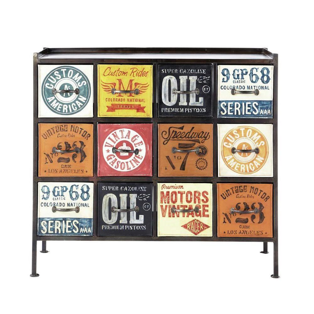cabinet de rangement indus en m tal multicolore l 107 cm customs maisons du monde. Black Bedroom Furniture Sets. Home Design Ideas