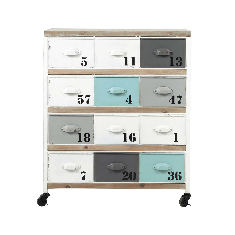 cabinet de rangement indus en m tal multicolore l 75 cm bloom maisons du monde. Black Bedroom Furniture Sets. Home Design Ideas