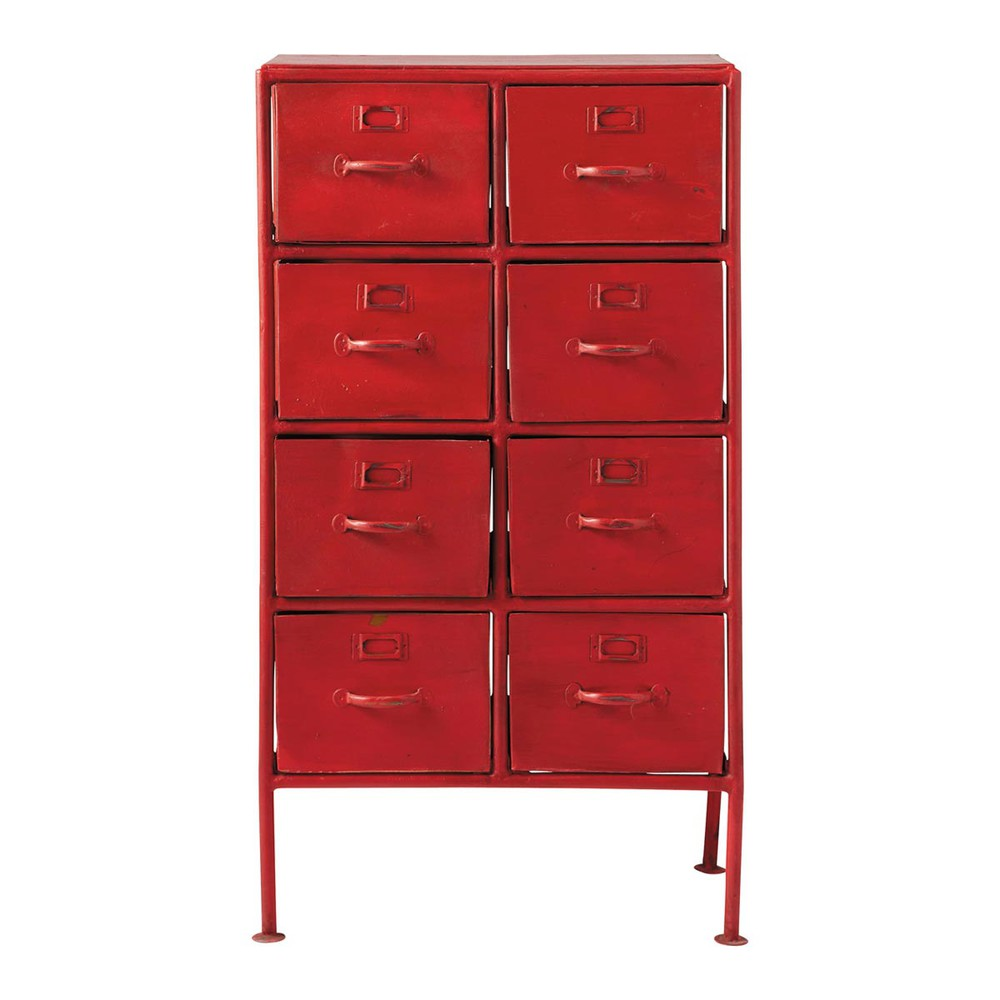 cabinet de rangement indus en m tal rouge l 52 cm. Black Bedroom Furniture Sets. Home Design Ideas