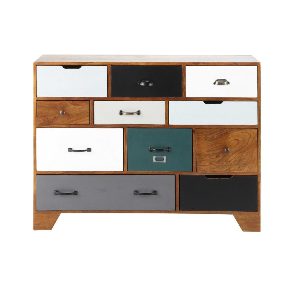 Cabinet de rangement vintage en manguier massif l 114 cm picadilly maisons - Meuble en manguier massif ...