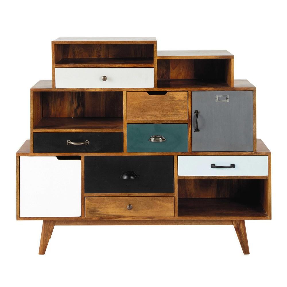 Cabinet de rangement vintage en manguier massif l 125 cm for Meuble manguier massif