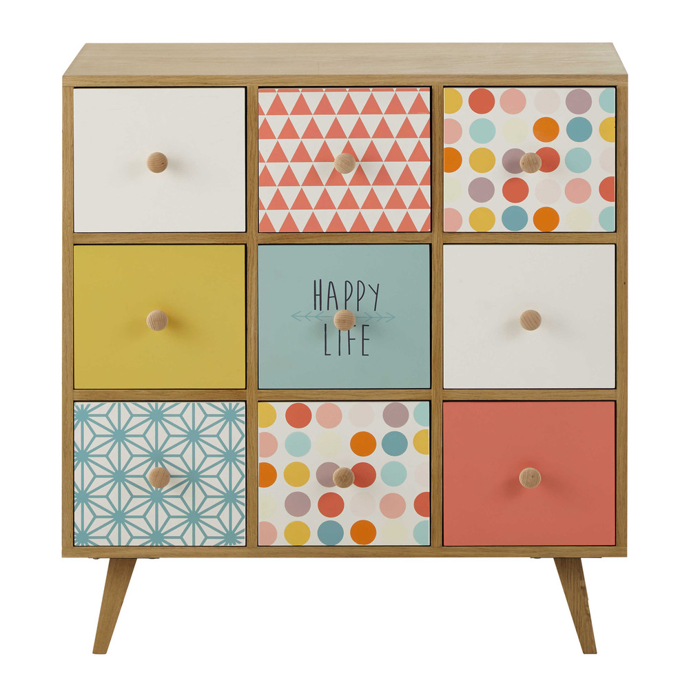 cabinet en bois multicolore l 78 cm alix maisons du monde. Black Bedroom Furniture Sets. Home Design Ideas