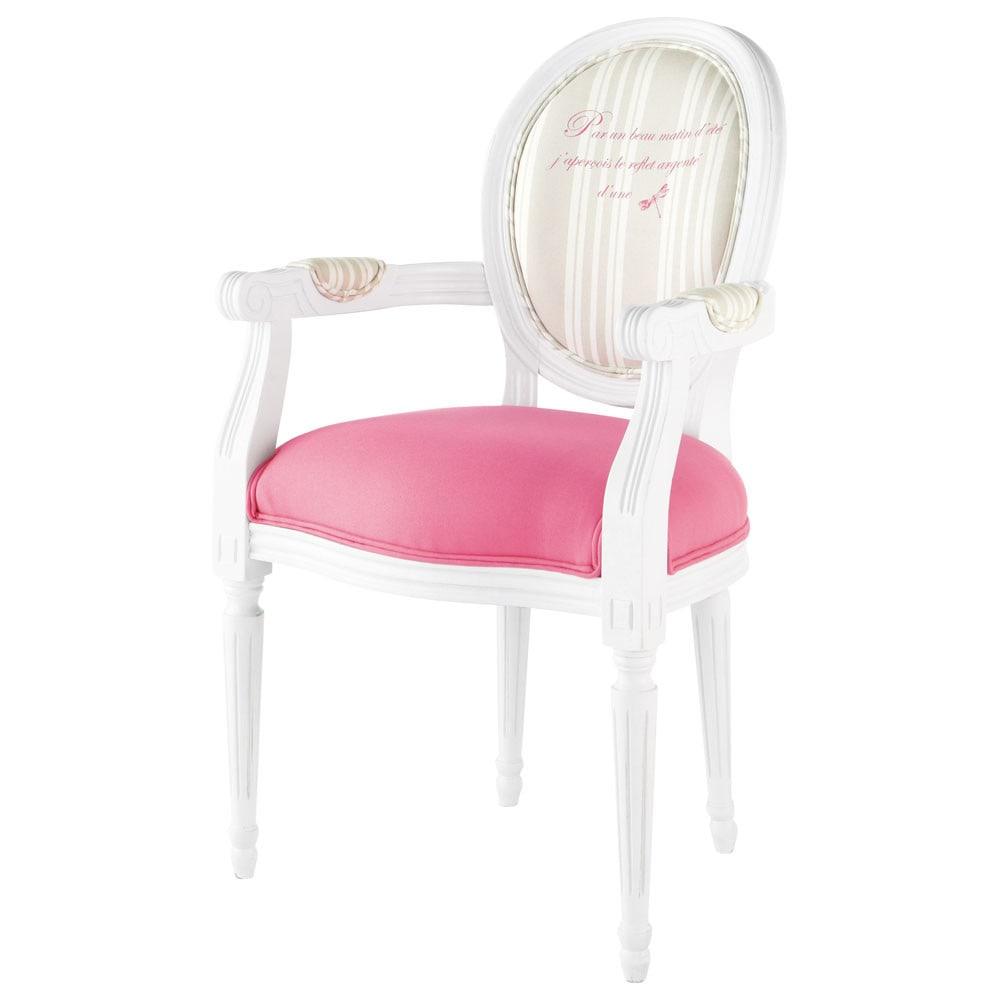 Cabriolet Sessel aus Holz und Baumwolle weiß rosa Louis
