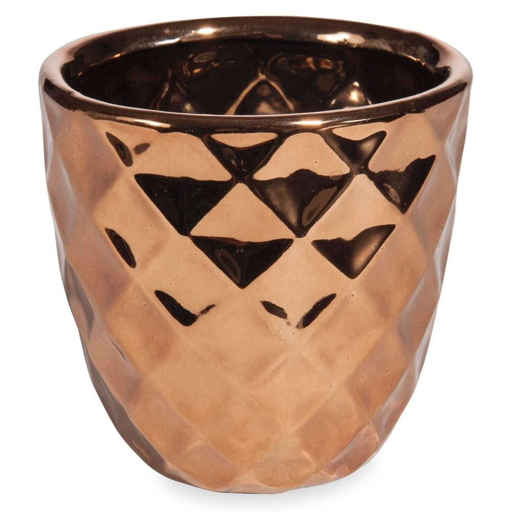 cache pot ananas en gr s h 10 cm copper maisons du monde. Black Bedroom Furniture Sets. Home Design Ideas