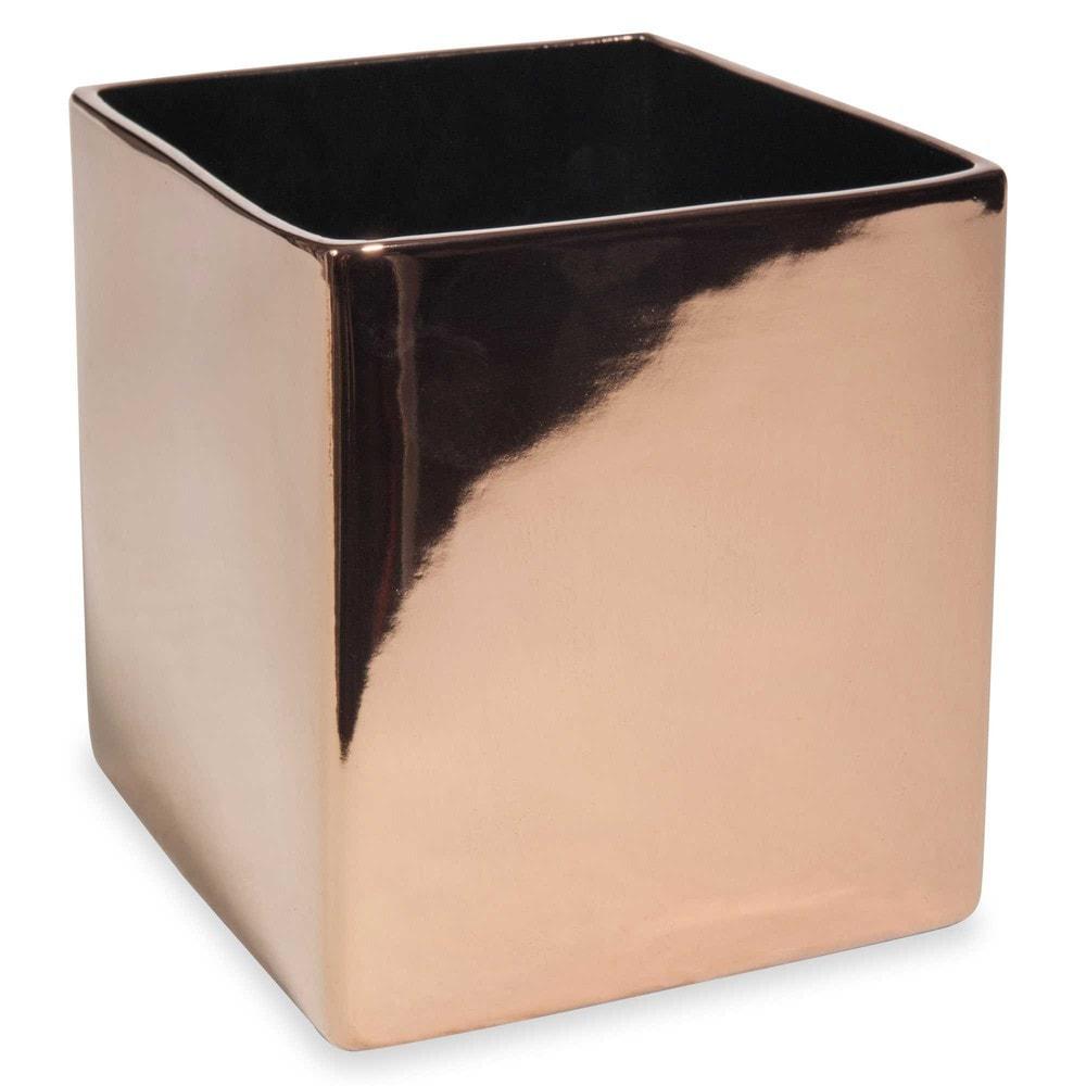 cache pot carr en c ramique cuivr e copper maisons du monde. Black Bedroom Furniture Sets. Home Design Ideas