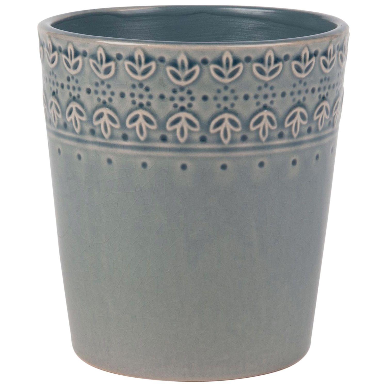 Cache Pot En Ceramique Bleu Gris Motifs Fleurs H14 Maisons Du Monde