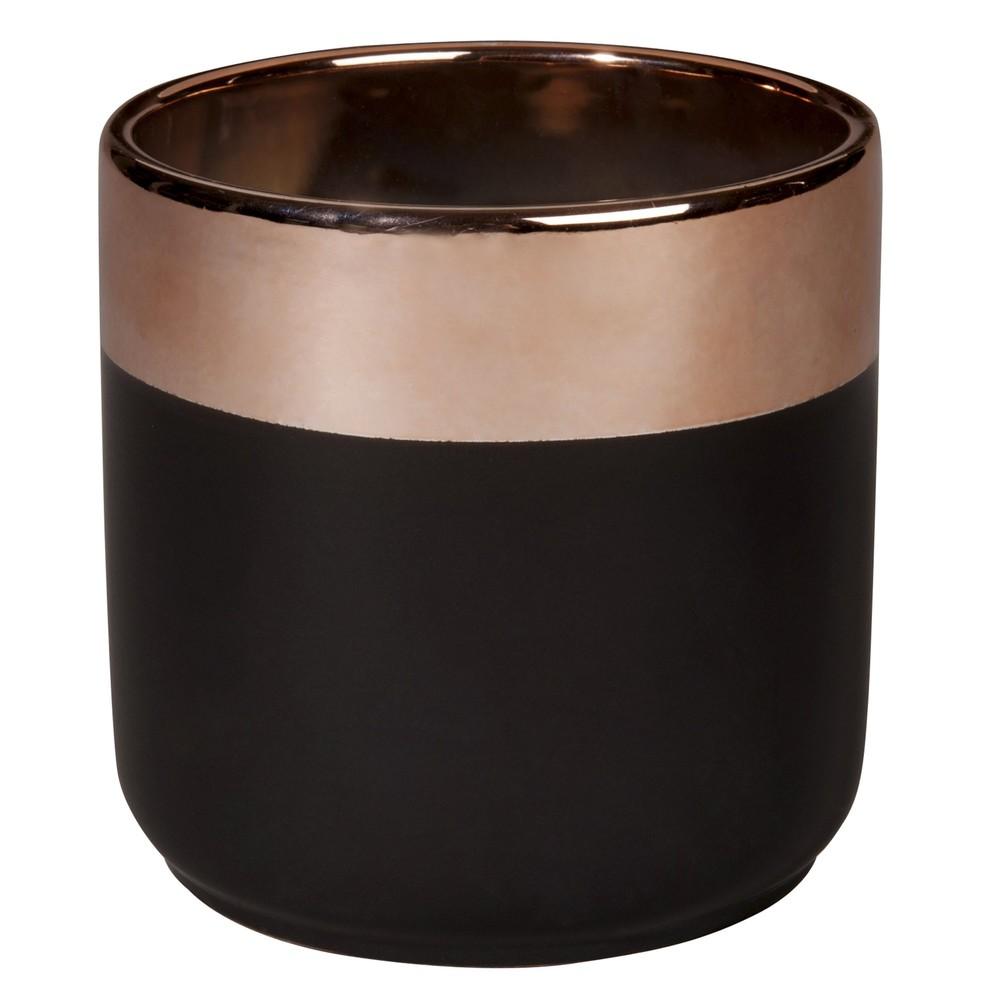 cache pot en c ramique gris charbon et cuivr e h13. Black Bedroom Furniture Sets. Home Design Ideas