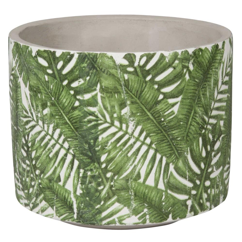 cache pot en c ramique imprim feuillage vert h13 maisons du monde. Black Bedroom Furniture Sets. Home Design Ideas