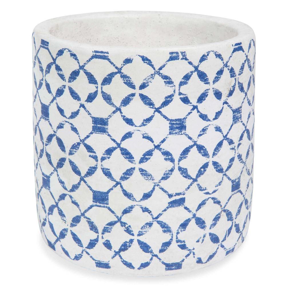 cache pot en ciment bleu h 13 cm rhodes maisons du monde. Black Bedroom Furniture Sets. Home Design Ideas