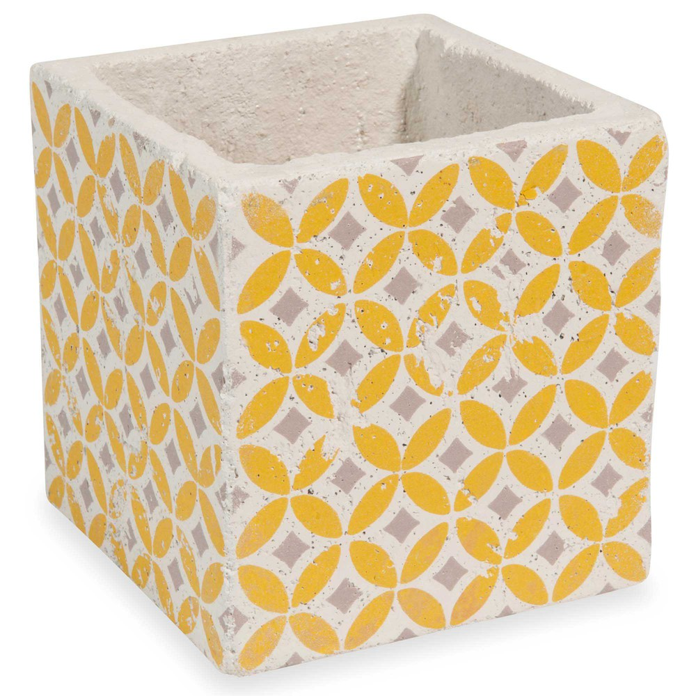 cache pot en ciment jaune h 14 cm seventies maisons du monde. Black Bedroom Furniture Sets. Home Design Ideas