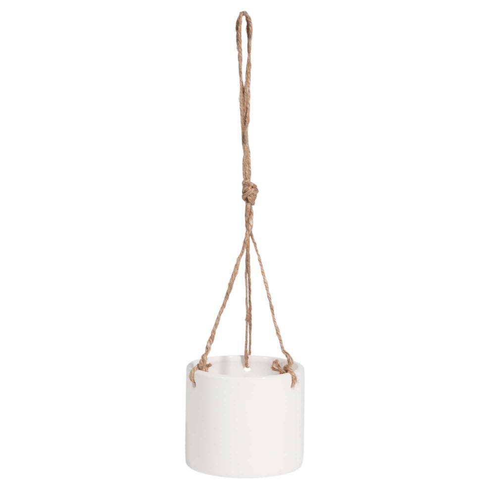 cache pot suspendu en c ramique blanche urban maisons du. Black Bedroom Furniture Sets. Home Design Ideas