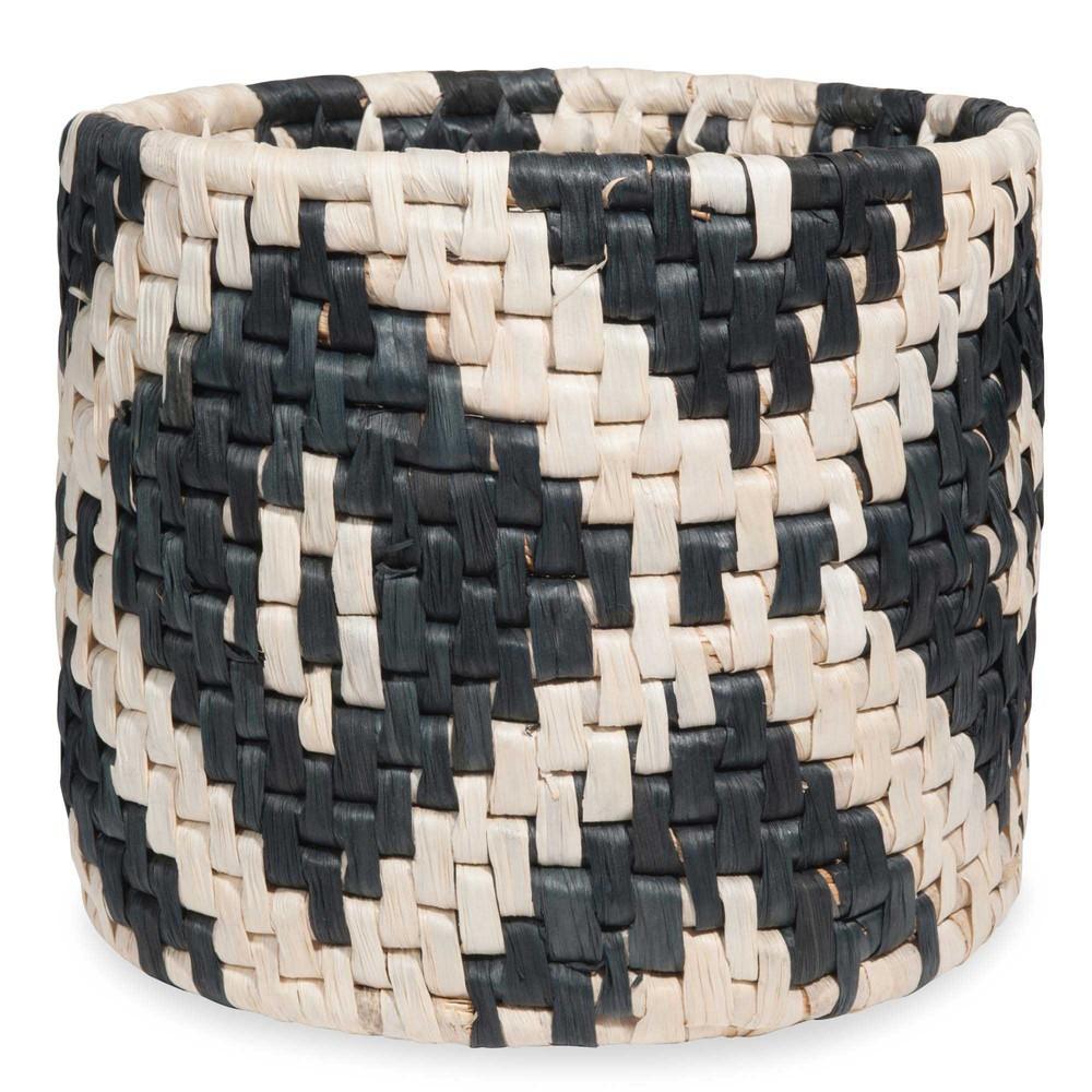 cache pot tress en fibre v g tale motifs noirs escale. Black Bedroom Furniture Sets. Home Design Ideas