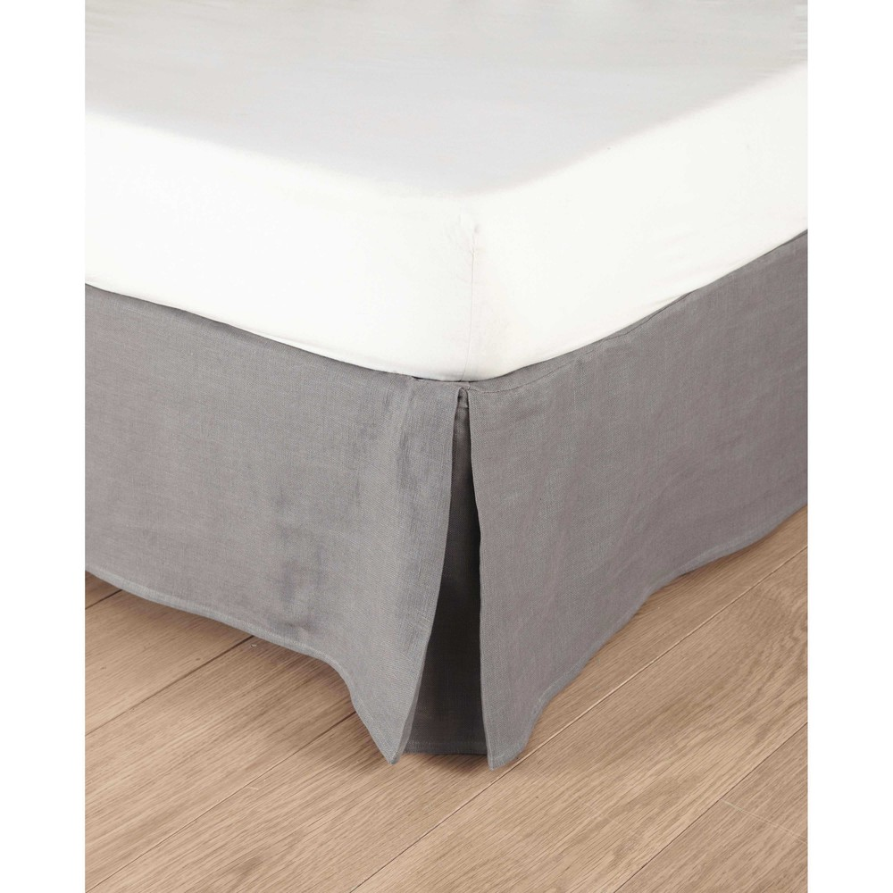 cache sommier 140x190 en lin lav gris moyen morphee. Black Bedroom Furniture Sets. Home Design Ideas