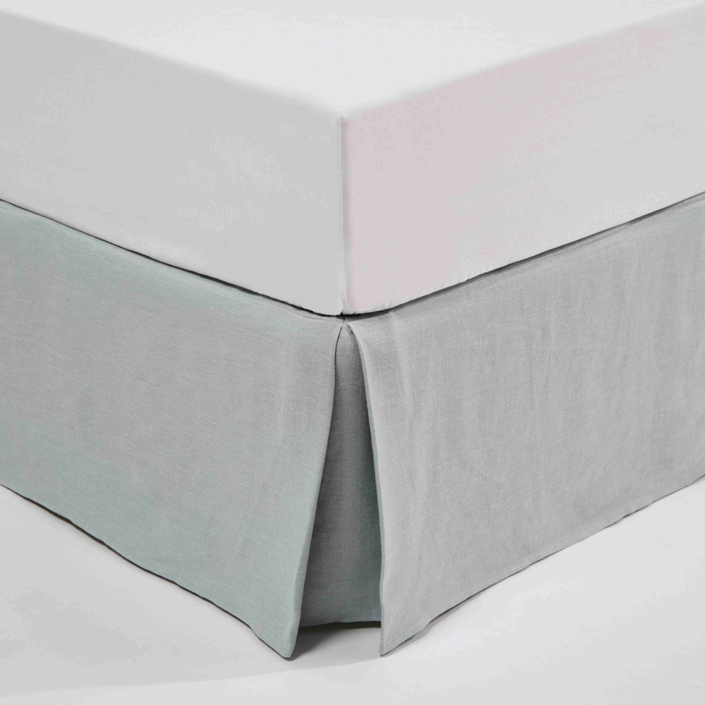 cache sommier 160x200 en lin lav bleu glacier maisons. Black Bedroom Furniture Sets. Home Design Ideas
