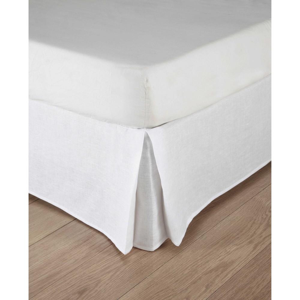 cache sommier 180 x 200 cm en lin lav blanc maisons du. Black Bedroom Furniture Sets. Home Design Ideas