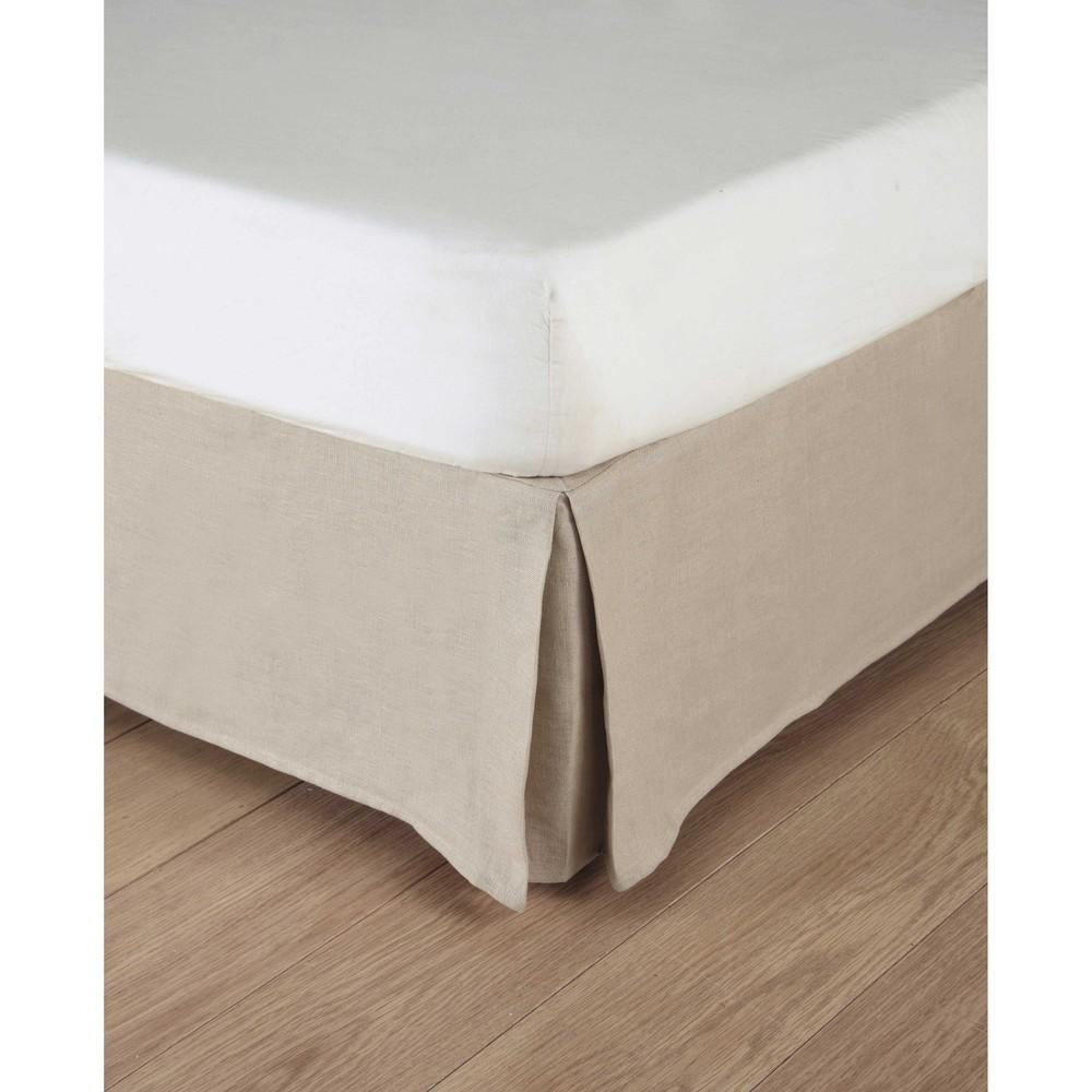 cache sommier 180 x 200 cm en lin lav naturel maisons. Black Bedroom Furniture Sets. Home Design Ideas