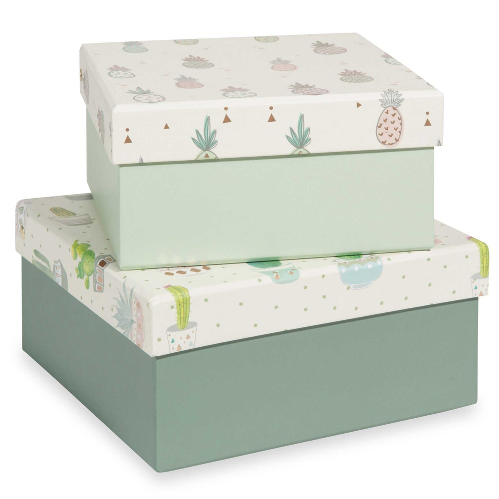 cactus ananas 2 cardboard storage boxes maisons du monde. Black Bedroom Furniture Sets. Home Design Ideas