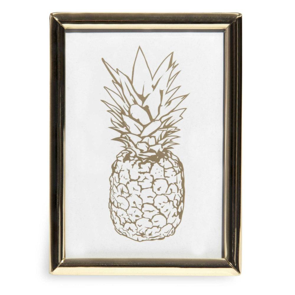 cadre en m tal dor avec ananas zita maisons du monde. Black Bedroom Furniture Sets. Home Design Ideas
