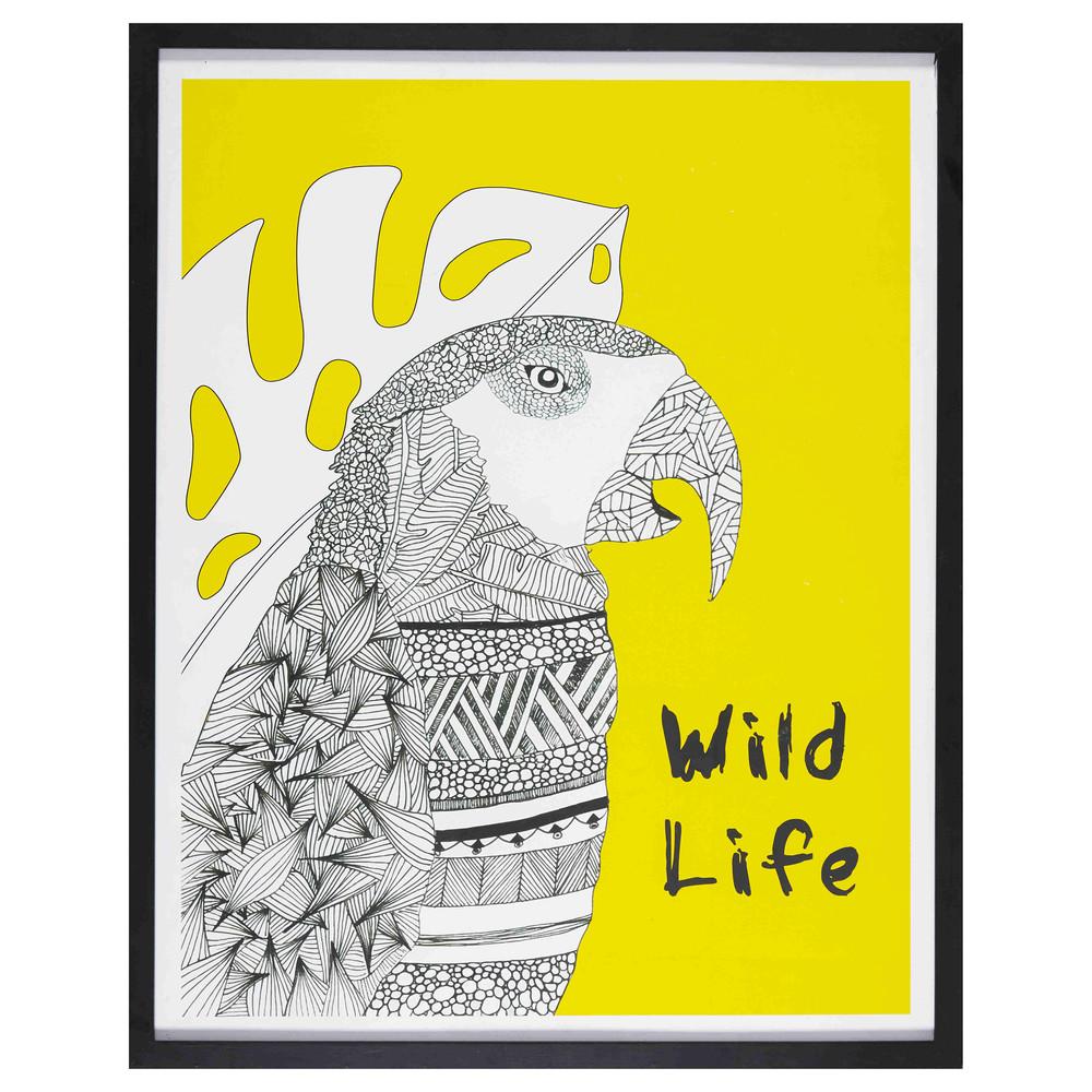 cadre imprim perroquet noir et jaune 80x100cm graphic wild maisons du monde. Black Bedroom Furniture Sets. Home Design Ideas