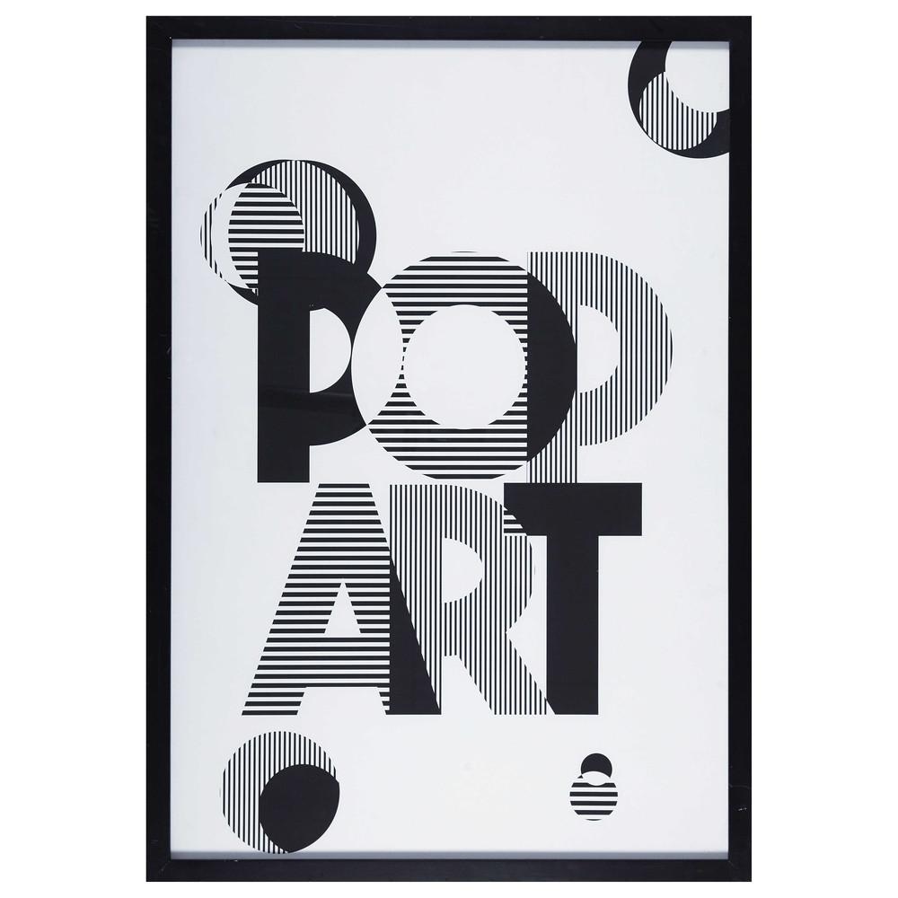 cadre noir imprim sous verre 70x100cm pop art maisons. Black Bedroom Furniture Sets. Home Design Ideas