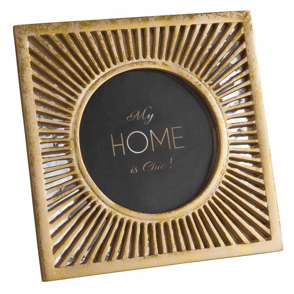 cadre photo 13x13 miroir dor maisons du monde. Black Bedroom Furniture Sets. Home Design Ideas
