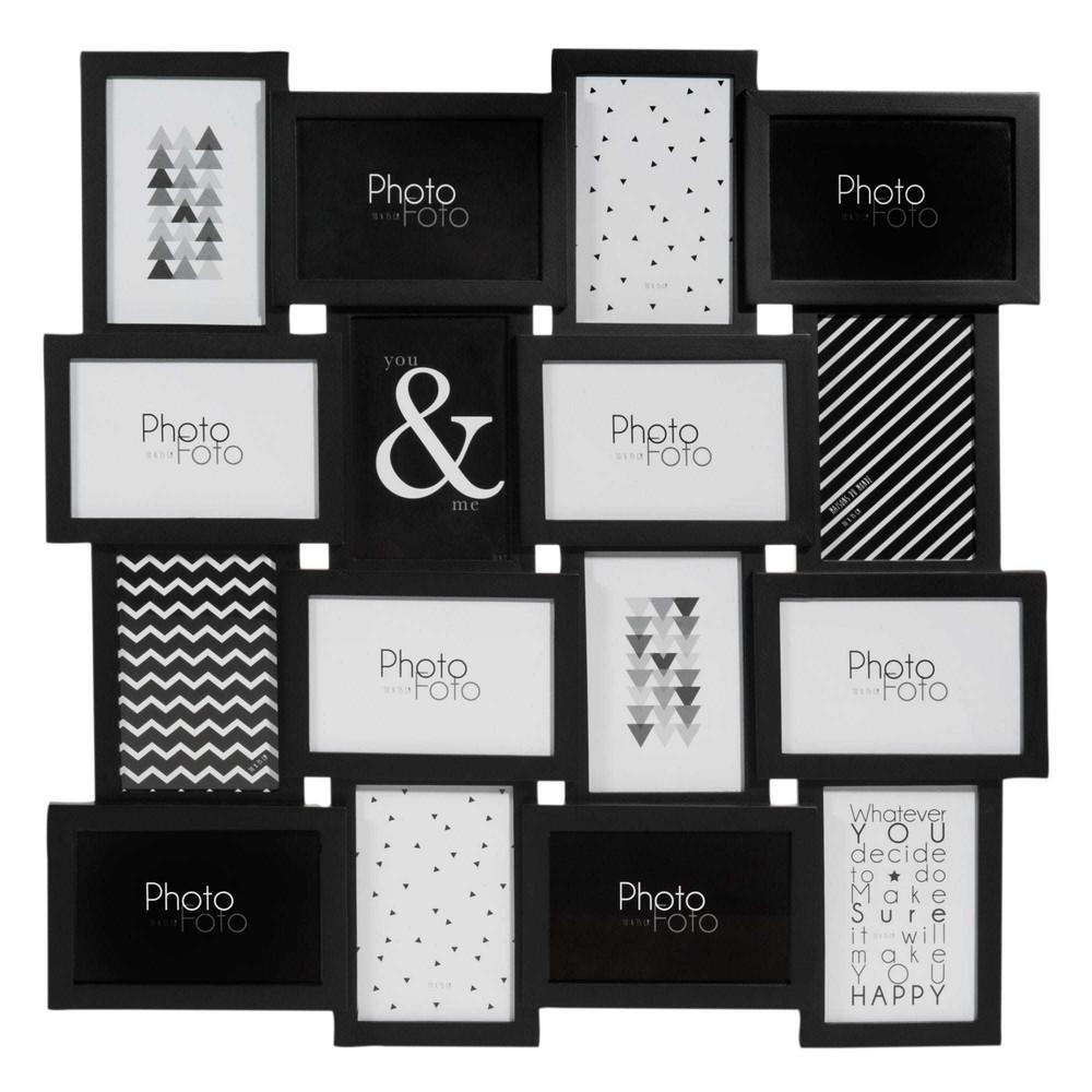 cadre photo 16 vues noir 59 x 59 cm maisons du monde. Black Bedroom Furniture Sets. Home Design Ideas