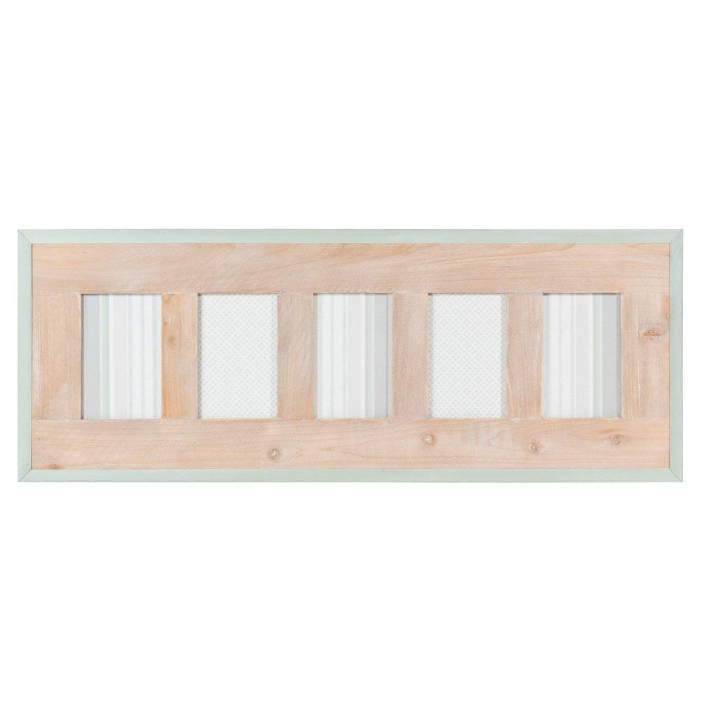 Cadre photo 5 vues en bois 28 x 74 cm garden factory for Cadre bois flotte maison du monde