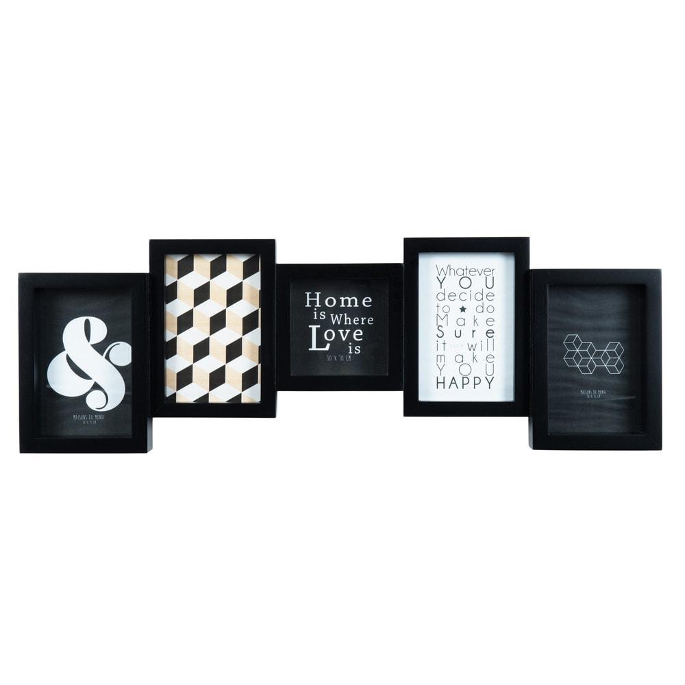 cadre photo 5 vues noir 20 x 61 cm square maisons du monde. Black Bedroom Furniture Sets. Home Design Ideas